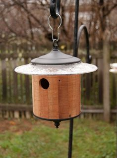 Wood Birdhouse Round (Medium Brown) Outdoor Birdhouse, Metal Top & Base…
