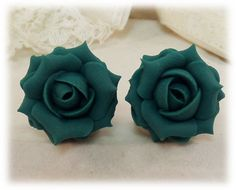 Teal Rose Stud Earrings & Clip On Earrings Rose Earrings, Clip On Earrings, Stud Earrings, Teal Jewelry, Polymer Clay Flowers, Dream Wedding, Bridesmaid, Sterling Silver, Necklaces