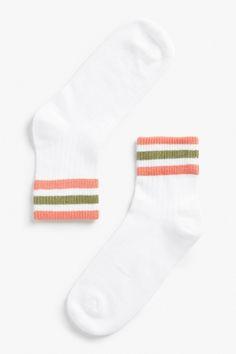 Monki Stripe detail socks in Red Yellowish Light