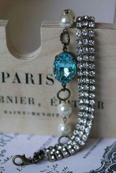 aquamarine vintage b  aquamarine vintage bracelet by eab designs