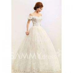 $161.82 Gorgeous Off-Shoulder Beading Appliques Hem Bridal Wedding Dress