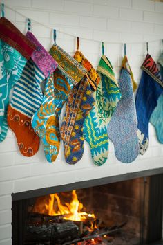 Kantha Stockings made from sari cloth #boho #bohemian #christmas