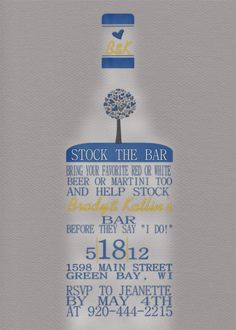 Stock the Bar Party Invitation by lklaflen on Etsy, $16.00