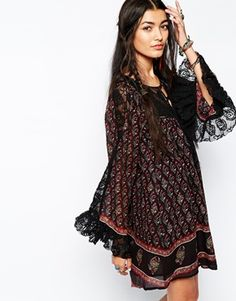 Free People Nomad Skater Dress in Paisley Floral Print