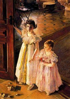 'Two Girls in Interior,' 1892, Ernest Bieler Swiss Painter, 1863-1948.