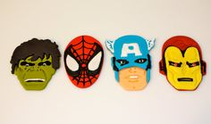 SUPER HERO AVENGERS  -  Fondant Cupcake, and Cookie Toppers - 1 Dozen. , via Etsy.