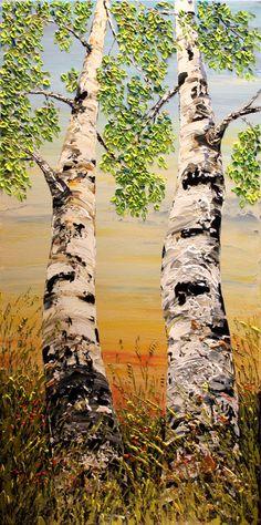 Peinture d'arbre de bouleau. Original paysage peinture