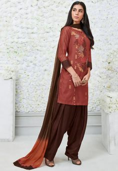 Embroidered Cotton Punjabi Suit in Rust Silk Anarkali Suits, Patiala Salwar, Kurti, Embroidery Suits Punjabi, Embroidery Dress, Panjabi Suit, Designer Anarkali Dresses, Punjabi Girls, Saree Trends