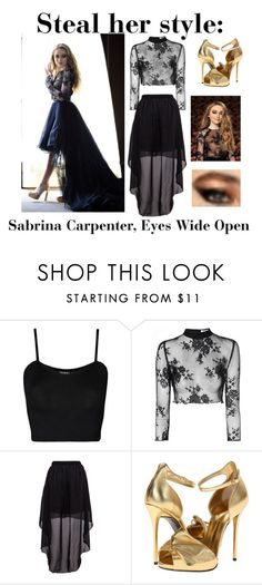 """""""Steal her style: Sabrina Carpenter, Eyes Wide Open"""" by pheobie-tonkin-rocks ❤ liked on Polyvore featuring WearAll, Glamorous and Giuseppe Zanotti"""