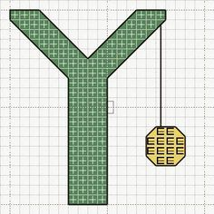 Y is for yo yo free cross stitch pattern Craft with Ruth Cartwright