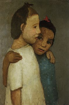 Deux filles en robe blanche et bleue, Paula Modersohn-Becker. German Female Painter (1876 - 1907)
