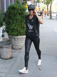 Michelle Rodriguez returning from her workout...