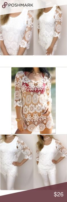"""Delicate White Lace Top Cover Up One Size Welcome summer in this stunning crochet lace cover up top. Great layering piece with cami/tank or wear as swimsuit coverup. Tank not included. One size fits most. Polyester Hand Wash Delicate Lace.   Bust fits up to 39"""" Length 28.5"""" Tops"""