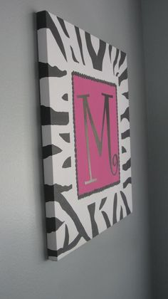 Personalized Hot Pink and Zebra Wall Art by LolaGrayStore on Etsy, $36.00