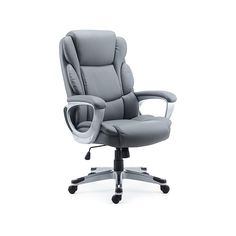 Staples.com: Staples Mcallum Bonded Leather Manager Chair, Gray (51474) with fast and free shipping on select orders. Office Floor, Perfect Angle, Executive Office, Grey Chair, Bonded Leather, Seat Cushions, 3 D, Upholstery, Plush