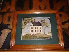 Warren Kimble Farmhouse On Hill Signed Wooden Frame Americana Print