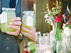 escort card ideas/ keeping things easy and green. line jars up on tables and enclose table numbers and a favor