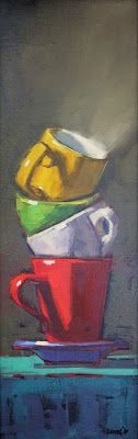 cathleen rehfeld • Daily Painting: Stacked Cups - sold