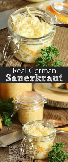 Easy to make a great for your health, learn how to make your own German Sauerkraut. Full of probiotics, vitamins, and a great way to preserve cabbage for the winter, sauerkraut can be eaten cold or hot with various dishes and meats! Fermented Sauerkraut, Homemade Sauerkraut, Fermented Cabbage, Sauerkraut Recipes, Cabbage Recipes, Fermented Foods, German Sauerkraut Recipe, Hot Cabbage Recipe, Canning Cabbage