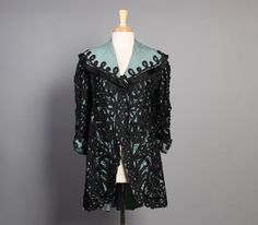 Incredible Aqua & Black lace 1920s jacket - that collar!