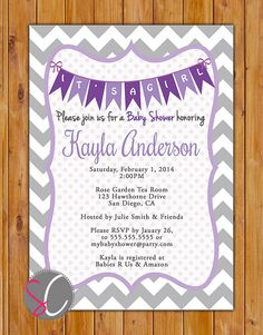 Baby Shower Invitations For Word Templates Beauteous Girl Baby Shower Invitation Template Lavender Turquoise Chevron .