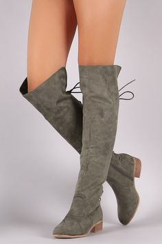 63704148ec0821 Suede Back Lace-Up Over-The-Knee Riding Boots Description These edgy boots