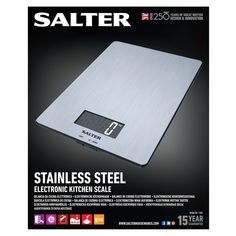 Made from stainless steel, these precise digital kitchen scales from Salter feature a reset to zero function allowing multiple accurate weighing in one bowl and are guaranteed for 15 years. Electronic Kitchen Scales, Kitchen Electronics, Digital Kitchen Scales, Cleaning Wipes, Improve Yourself, 15 Years, Zero, Stainless Steel, Products