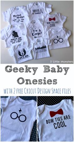 Ideas for geeky baby onesies including 2 free Cricut Design Space cut files, one Harry Potter and one Doctor Who.
