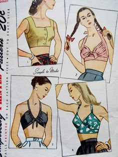 Vintage 1940s Simplicity crop tops sewing pattern  Choice of button up or tie tops  I made view one and it is a really nice fit Carefully used and