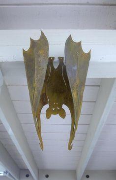 Halloween Bat Vampire Metal, Large Hanging 3-D  Flat or Curled Garden Yard Art.