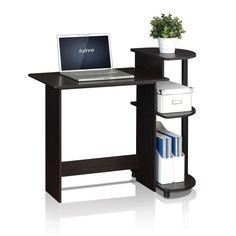 Furinno Compact Espresso/Black Computer Desk-11181EX/BK - The Home Depot