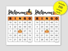 Halloween Bingo Cards, 200 cards, 2 per page, immediate pdf download Halloween Bingo Cards, Halloween Party, Custom Bingo Cards, Bingo Calls, Bingo Patterns, Family Games, Party Games, Fundraising, Printable
