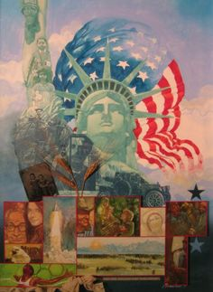 'Statue of Liberty Centennial' by Chuck Hamrick on artflakes.com as poster or art print. Another commission on the Liberty Centennial for Nestle' Corp.