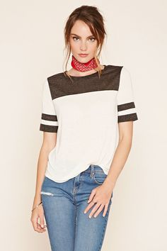 Forever 21 Contemporary - A slub knit top featuring athletic-inspired stripes, a colorblock design, short sleeves, round neckline, and a slightly rounded hem.