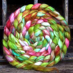 Hand Dyed Roving, Hand Painted Roving for Handspinning, Handspun Yarn, Felting, Fiber Art, Faux Mohair Vegan 8oz Candyland