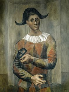 Pablo Picasso - Harlequin with Black Hat, 1918 (Kunstmuseum Basel Switzerland) at Gauguin-to-Picasso Exhibit - Philllips Collection Washington DC (Exhibit Catalog Book)