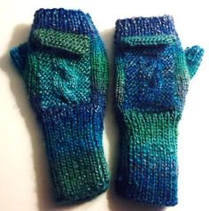 My own design, I call them my Mermaid Mitts! Very warm and soft, no too alike due to changing colorways of blue and green. This pair feature two pockets on the back of the hands, nifty! Help support my fight with Fibromyalgia, and get your own handmade items a once in a lifetime personal gift to you. Thx, Love, Barbi! <3