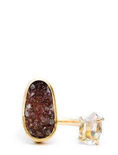 Herkimer Diamond & Drusy Ring