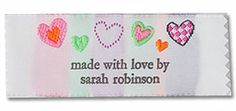"Sew a ""hearts"" label into your Valentine's Day creations to let them know who loves them!"