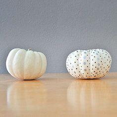 Metallic Dots on White Pumpkins