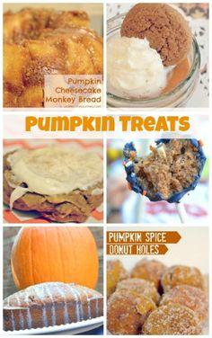 A round up of pumpkin spice treats including pumpkin donut holes & gingersnap pumpkin pie! YUM!