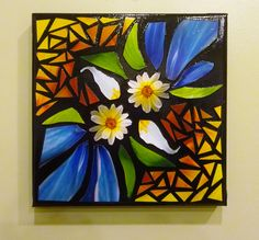 Photo Mosaic on Black Canvas Title: White Twin Daisies, 2014 ©Julie Gard Freeney 2014