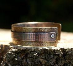 milled patterning, cold connection brass with copper cuff bracelet...