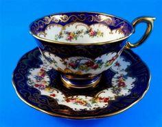 Painted Floral Bouquet with Deep Cobalt Crown Staffordshire Tea Cup & Saucer Set