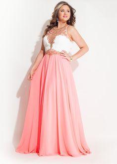 Rachel Allan 7402 Sparkly Jeweled Chiffon Plus Size Dress