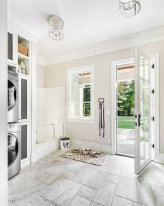 Good example of mud room layout with dog shower at end, by door. Want everything hidden behind doors (sliding? Mudroom Laundry Room, Large Laundry Rooms, Laundry Room Design, Animal Room, Dog Washing Station, House Ideas, Dog Rooms, Dog Shower, Bath Shower