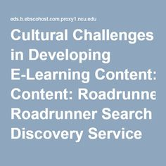 Cultural Challenges in Developing E-Learning Content: Roadrunner Search Discovery Service