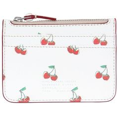 Marc By Marc Jacobs Women Cherry Printed Leather Coin Purse ($130) ❤ liked on Polyvore featuring bags, wallets, beige, leather coin purse, coin purse wallets, coin pouch wallet, white wallet and leather change purse