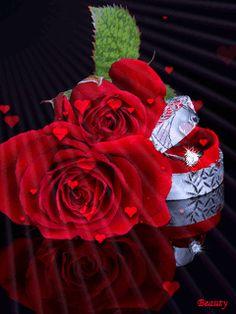 Imagen-de-corazones-animados-flotando-y-unas-rosas-rojas.gif (240×320)