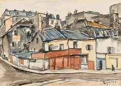 Rue de la Marne, Ménilmontant by Takanori Oguiss, watercolor over India ink on paper | MutualArt.com